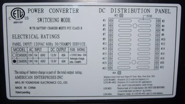 model cs6000 power converter sunline coach owner s club rh sunlineclub com Camper Wiring Diagram 30A Lance Camper Wiring Diagram